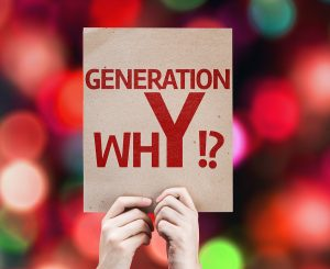 Generation whY !? card with colorful background with defocused l