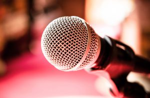 Microphone in karaoke room or conference room