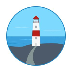 vector illustration. icon - a lighthouse on the shore. Sea waves clouds sky lighthouse road