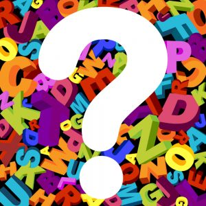 abstract background with letters and question mark